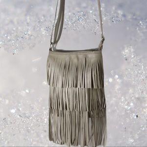 Winter white fringe purse